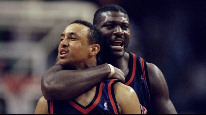 26 Apr 1998: Forward Larry Johnson and guard John Starks of the New York Knicks in action against the Miami Heat during an NBA playoff game at the Miami Arena in Miami, Florida. The Knicks defeated the Heat 96-86.