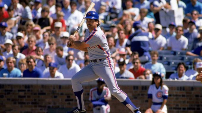 CHICAGO - 1988: First baseman Keith Hernandez #17 of the New York Mets swings during a 1988 game against the Chicago Cubs at Wrigley Field in Chicago, Illinois.