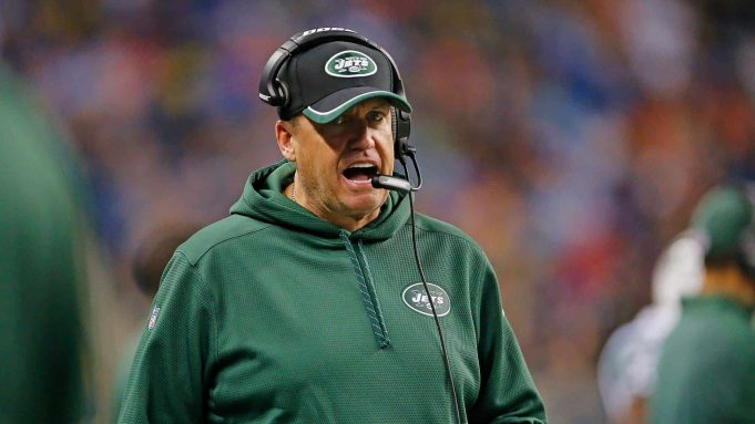 DETROIT, MI - NOVEMBER 24: New York Jets head coach Rex Ryan watches the action during the fourth quarter of the game against the Buffalo Bills at Ford Field on November 24, 2014 in Detroit, Michigan. The Bills defeated the Jets 38-3.