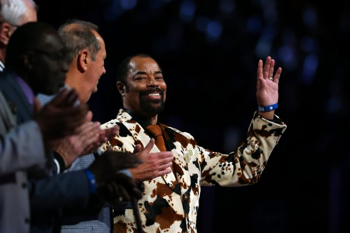 NEW YORK, NY - FEBRUARY 15: New York Knick Legend Walt Frazier waves during the 2015 NBA All-Star Game at Madison Square Garden on February 15, 2015 in New York City. NOTE TO USER: User expressly acknowledges and agrees that, by downloading and/or using this photograph, user is consenting to the terms and conditions of the Getty Images License Agreement.