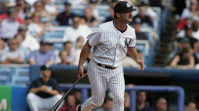 NEW YORK - JULY 9: Don Mattingly swings at a pitch during the New York Yankees 59th annual old-timers' day before the start of the Yankees game against the Cleveland Indians on July 9, 2005 at Yankee Stadium in the Bronx borough of New York City. The Indians defeated the Yankees 8-7.