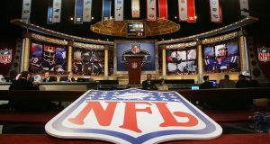 NEW YORK - APRIL 29: The stage is shown with the NFL Logo at the 2006 NFL Draft on April 29, 2006 at Radio City Music Hall in New York, New York.