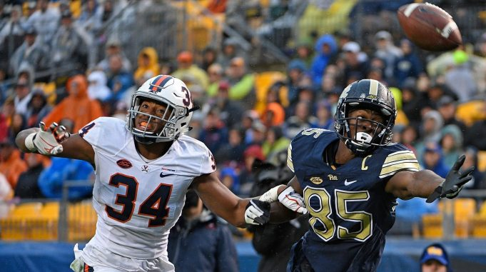 PITTSBURGH, PA - OCTOBER 28: Jester Weah #85 of the Pittsburgh Panthers cannot make a catch while being defended by Bryce Hall #34 of the Virginia Cavaliers in the first half during the game at Heinz Field on October 28, 2017 in Pittsburgh, Pennsylvania. New York Jets
