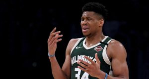 LOS ANGELES, CALIFORNIA - MARCH 06: Giannis Antetokounmpo #34 of the Milwaukee Bucks reacts as he is called for a foul during the third quarter against the Los Angeles Lakers at Staples Center on March 06, 2020 in Los Angeles, California. NOTE TO USER: User expressly acknowledges and agrees that, by downloading and or using this photograph, User is consenting to the terms and conditions of the Getty Images License Agreement.