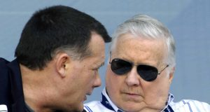 TAMPA, FL - APRIL 01: Owner George Steinbrenner of the New York Yankees talks with his son, Hank, against the Philadelphia Phillies at George Steinbrenner Field April 1, 2009 in Tampa, Florida.
