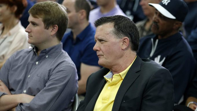 TAMPA, FL - FEBRUARY 19: Hank Steinbrenner, General Partner and Co-Chairperson of the New York Yankees watches as Derek Jeter speaks at a media availability after announcing that the 2014 season will be his last before retiring at George M. Steinbrenner Field on February 19, 2014 in Tampa, Florida.