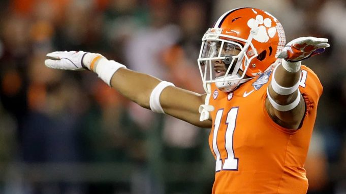 CHARLOTTE, NC - DECEMBER 02: Isaiah Simmons #11 of the Clemson Tigers reacts after a pass break up against the Miami Hurricanes in the second quarter during the ACC Football Championship at Bank of America Stadium on December 2, 2017 in Charlotte, North Carolina.
