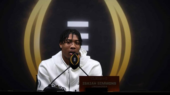NEW ORLEANS, LOUISIANA - JANUARY 11: Isaiah Simmons #11 of the Clemson Tigers attends media day for the College Football Playoff National Championship on January 11, 2020 in New Orleans, Louisiana.