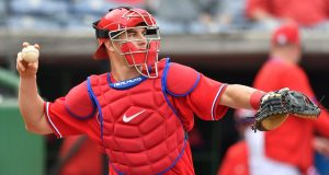 CLEARWATER, FLORIDA - FEBRUARY 25: J.T. Realmuto #10 of the Philadelphia Phillies throws the ball back to the pitcher in the third inning during the spring training game against the Toronto Blue Jays at Spectrum Field on February 25, 2020 in Clearwater, Florida.
