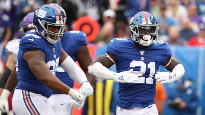 EAST RUTHERFORD, NEW JERSEY - OCTOBER 06: Jabrill Peppers #21 of the New York Giants celebrates a tackle against the Minnesota Vikings during the first half in the game at MetLife Stadium on October 06, 2019 in East Rutherford, New Jersey.