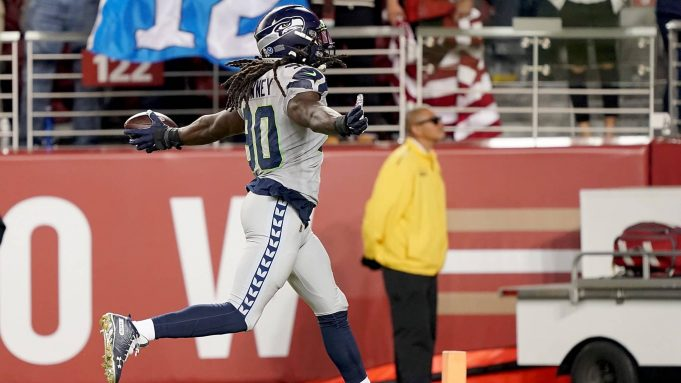 SANTA CLARA, CALIFORNIA - NOVEMBER 11: Defensive end Jadeveon Clowney #90 of the Seattle Seahawks recovers a fumble to score a touchdown over the San Francisco 49ers during the second quarter at Levi's Stadium on November 11, 2019 in Santa Clara, California.