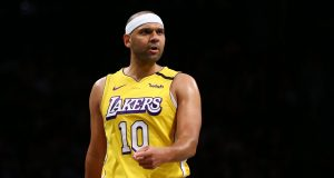 NEW YORK, NEW YORK - JANUARY 23: Jared Dudley #10 of the Los Angeles Lakers in action against the Brooklyn Netsat Barclays Center on January 23, 2020 in New York City. NOTE TO USER: User expressly acknowledges and agrees that, by downloading and or using this photograph, User is consenting to the terms and conditions of the Getty Images License Agreement.