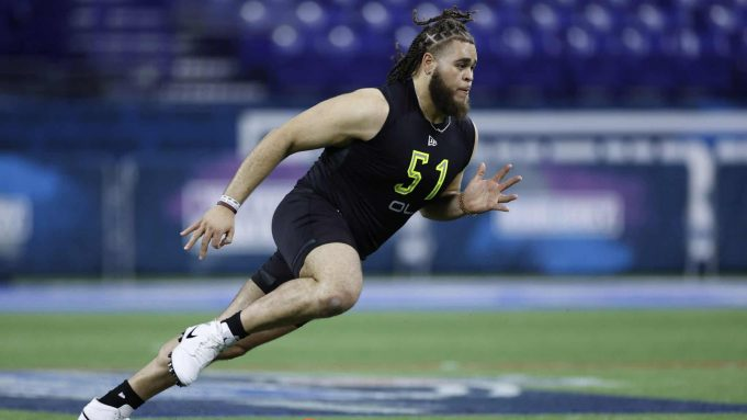 INDIANAPOLIS, IN - FEBRUARY 28: Offensive lineman Jedrick Wills Jr. of Alabama runs a drill during the NFL Combine at Lucas Oil Stadium on February 28, 2020 in Indianapolis, Indiana.