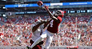 TUSCALOOSA, ALABAMA - SEPTEMBER 07: Jerry Jeudy #4 of the Alabama Crimson Tide fails to pull in this reception as he is defended by Ray Buford Jr. #1 of the New Mexico State Aggies at Bryant-Denny Stadium on September 07, 2019 in Tuscaloosa, Alabama.