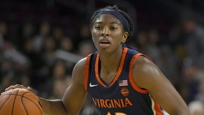 Virginia Cavaliers guard Jocelyn Willoughby dribbles the ball while playing the USC Trojans during an NCAA women's basketball game on Saturday, Nov. 9, 2019, in Los Angeles.
