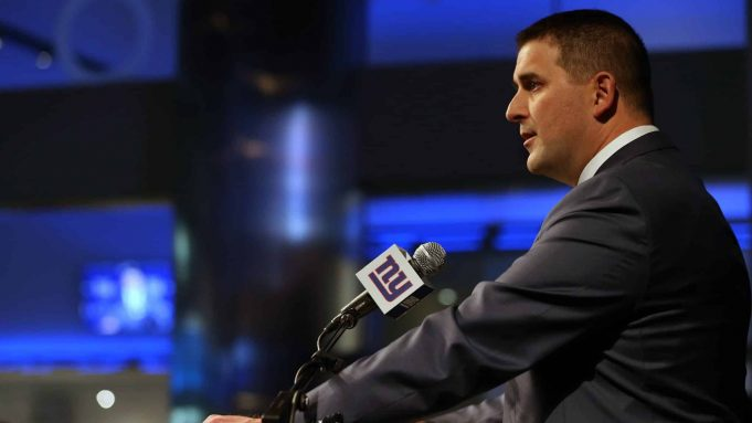 EAST RUTHERFORD, NJ - JANUARY 09: Joe Judge talks to the media after he was introduced as the new head coach of the New York Giants during a news conference at MetLife Stadium on January 9, 2020 in East Rutherford, New Jersey.