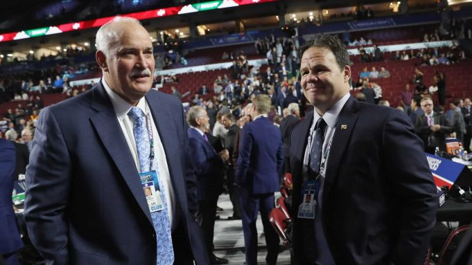 VANCOUVER, BRITISH COLUMBIA - JUNE 21: (L-R) John Davidson and Jeff Gorton of the New York Rangers attends the 2019 NHL Draft at the Rogers Arena on June 21, 2019 in Vancouver, Canada.