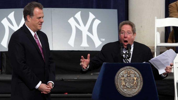 NEW YORK - NOVEMBER 06: New York Yankees broadcasters Michael Kay (L) and John Sterling speak during the New York Yankees World Series Victory Celebration at City Hall on November 6, 2009 in New York, New York.