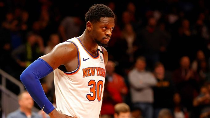 ATLANTA, GEORGIA - FEBRUARY 09: Julius Randle #30 of the New York Knicks reacts in the first overtime against the Atlanta Hawks at State Farm Arena on February 09, 2020 in Atlanta, Georgia. NOTE TO USER: User expressly acknowledges and agrees that, by downloading and/or using this photograph, user is consenting to the terms and conditions of the Getty Images License Agreement.