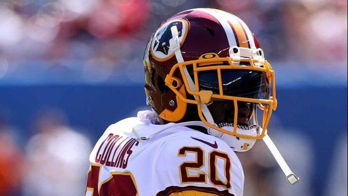 EAST RUTHERFORD, NEW JERSEY - SEPTEMBER 29: Landon Collins #20 of the Washington Redskins warms up prior to the game against the New York Giants at MetLife Stadium on September 29, 2019 in East Rutherford, New Jersey.