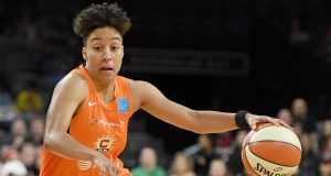LAS VEGAS, NEVADA - JUNE 02: Layshia Clarendon #23 of the Connecticut Sun drives against the Las Vegas Aces during their game at the Mandalay Bay Events Center on June 2, 2019 in Las Vegas, Nevada. The Sun defeated the Aces 80-74. NOTE TO USER: User expressly acknowledges and agrees that, by downloading and or using this photograph, User is consenting to the terms and conditions of the Getty Images License Agreement.