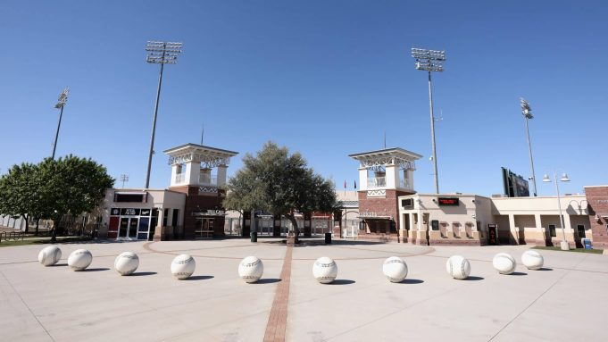 SURPRISE, ARIZONA - APRIL 07: General view outside of the Texas Rangers and Kansas City Royals spring training facility, Surprise Stadium on April 07, 2020 in Surprise, Arizona. According to reports, Major League Baseball is considering a scenario in which all 30 of its teams play an abbreviated regular season without fans in Arizona's various baseball facilities, including Chase Field and 10 spring training venues.