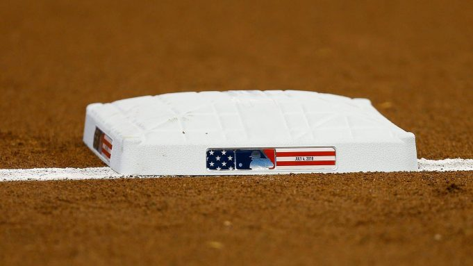 MIAMI, FL - JULY 04: A detail of third base with Independence Day themed logo prior to the game between the Miami Marlins and the Tampa Bay Rays at Marlins Park on July 4, 2018 in Miami, Florida.