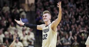 WEST LAFAYETTE, IN - DECEMBER 04: Matt Haarms #32 of the Purdue Boilermakers reacts in the first half of the game against the Virginia Cavaliers at Mackey Arena on December 4, 2019 in West Lafayette, Indiana.