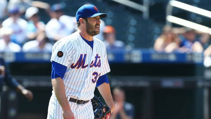 NEW YORK, NY - MAY 03: Matt Harvey #33 of the New York Mets looks on after giving up a 3-run home run to Ozzie Albies #1 of the Atlanta Braves in the seventh inning at Citi Field on May 3, 2018 in the Flushing neighborhood of the Queens borough of New York City.