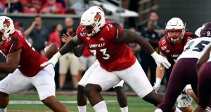 Louisville offensive lineman Mekhi Becton (73) in actionduring the first half of an NCAA college football game in Louisville, Ky., Saturday, Sept. 7, 2019.