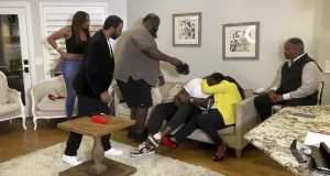 UNSPECIFIED LOCATION - APRIL 23: (EDITORIAL USE ONLY) In this still image from video provided by the NFL, Mekhi Becton, third from right, is hugged after being selected by the New York Jets during the first round of the 2020 NFL Draft on April 23, 2020.