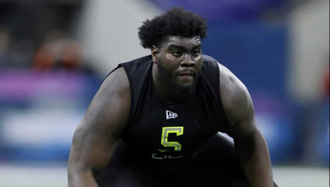 INDIANAPOLIS, IN - FEBRUARY 28: Offensive lineman Mekhi Becton of Louisville runs a drill during the NFL Combine at Lucas Oil Stadium on February 28, 2020 in Indianapolis, Indiana. New York Jets