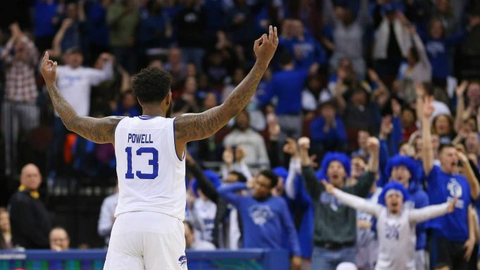 NEWARK, NJ - JANUARY 29: Myles Powell #13 and raises his arms after a basket against the DePaul Blue Demons during the second half of a college basketball game at Prudential Center on January 29, 2020 in Newark, New Jersey. Seton Hall defeated DePaul 64-57.