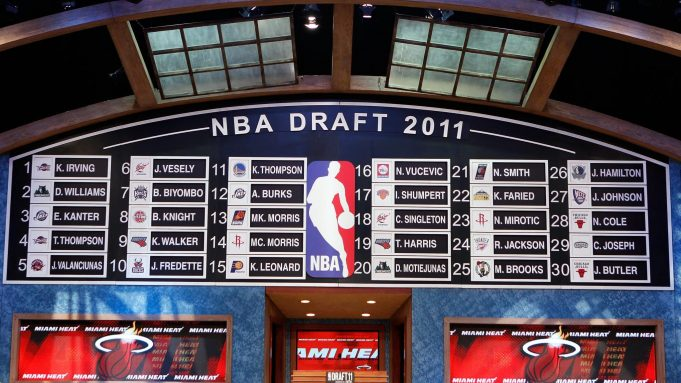 NEWARK, NJ - JUNE 23: A general view of the names on the draft board after the completion of the first round during the 2011 NBA Draft at the Prudential Center on June 23, 2011 in Newark, New Jersey. NOTE TO USER: User expressly acknowledges and agrees that, by downloading and/or using this Photograph, user is consenting to the terms and conditions of the Getty Images License Agreement.