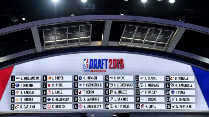 NEW YORK, NEW YORK - JUNE 20: The first round draft board is seen during the 2019 NBA Draft at the Barclays Center on June 20, 2019 in the Brooklyn borough of New York City. NOTE TO USER: User expressly acknowledges and agrees that, by downloading and or using this photograph, User is consenting to the terms and conditions of the Getty Images License Agreement.