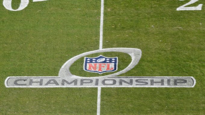 KANSAS CITY, MISSOURI - JANUARY 19: The NFL Championship logo is seen on the field before the AFC Championship Game between the Kansas City Chiefs and the Tennessee Titans at Arrowhead Stadium on January 19, 2020 in Kansas City, Missouri.