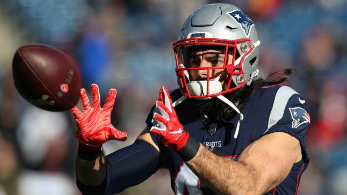 FOXBOROUGH, MASSACHUSETTS - DECEMBER 30: Nate Ebner #43 of the New England Patriots warms up before a game against the New York Jets at Gillette Stadium on December 30, 2018 in Foxborough, Massachusetts.