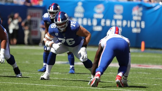 EAST RUTHERFORD, NEW JERSEY - SEPTEMBER 15: Nate Solder #76 of the New York Giants in action against the Buffalo Bills during their game at MetLife Stadium on September 15, 2019 in East Rutherford, New Jersey.