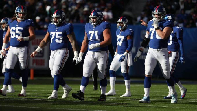 EAST RUTHERFORD, NEW JERSEY - DECEMBER 15: Nick Gates #65, Jon Halapio #75, Will Hernandez #71, and Nate Solder #76 of the New York Giants line up against the Miami Dolphins during their game at MetLife Stadium on December 15, 2019 in East Rutherford, New Jersey.