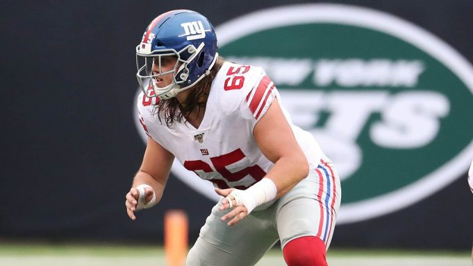 EAST RUTHERFORD, NEW JERSEY - NOVEMBER 10: Nick Gates #65 of the New York Giants in action against the New York Jets during their game at MetLife Stadium on November 10, 2019 in East Rutherford, New Jersey.