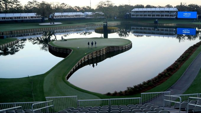 PONTE VEDRA BEACH, FLORIDA - MARCH 13: A general view of the 17th green is seen after the cancellation of the The PLAYERS Championship and consecutive PGA Tour events through April 5th,2020 due to the COVID-19 pandemic on March 13, 2020 in Ponte Vedra Beach, Florida.