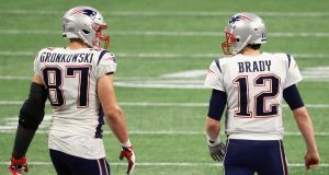 ATLANTA, GA - FEBRUARY 03: Rob Gronkowski #87 of the New England Patriots talks with Tom Brady #12 in the second half during Super Bowl LIII at Mercedes-Benz Stadium on February 3, 2019 in Atlanta, Georgia.
