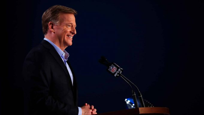 MIAMI, FLORIDA - JANUARY 29: NFL Commissioner Roger Goodell speaks to the media during a press conference prior to Super Bowl LIV at the Hilton Miami Downtown on January 29, 2020 in Miami, Florida. The San Francisco 49ers will face the Kansas City Chiefs in the 54th playing of the Super Bowl, Sunday February 2nd.