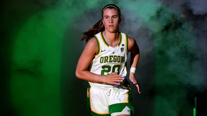 LAS VEGAS, NEVADA - MARCH 08: Sabrina Ionescu #20 of the Oregon Ducks is introduced before the championship game of the Pac-12 Conference women's basketball tournament against the Stanford Cardinal at the Mandalay Bay Events Center on March 8, 2020 in Las Vegas, Nevada. The Ducks defeated the Cardinal 89-56.