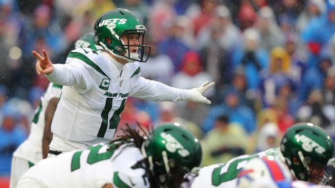 ORCHARD PARK, NY - DECEMBER 29: Sam Darnold #14 of the New York Jets calls a play during the first half against the Buffalo Bills at New Era Field on December 29, 2019 in Orchard Park, New York.