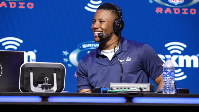 MIAMI, FLORIDA - JANUARY 30: NFL running back Saquon Barkley of the New York Giants speaks onstage during day 2 of SiriusXM at Super Bowl LIV on January 30, 2020 in Miami, Florida.