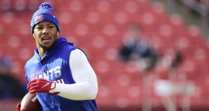 LANDOVER, MD - DECEMBER 22: Saquon Barkley #26 of the New York Giants warms up before a game against the Washington Redskins at FedExField on December 22, 2019 in Landover, Maryland.