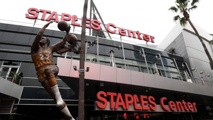 LOS ANGELES, CALIFORNIA - MARCH 12: Exterior of Staples Center after both the NHL and NBA postpone seasons due to corona virus concerns at Staples Center on March 12, 2020 in Los Angeles, California.