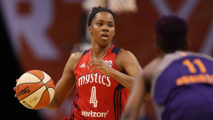 PHOENIX, AZ - JULY 05: Tayler Hill #4 of the Washington Mystics handles the ball during the WNBA game against the Phoenix Mercury at Talking Stick Resort Arena on July 5, 2017 in Phoenix, Arizona. NOTE TO USER: User expressly acknowledges and agrees that, by downloading and or using this photograph, User is consenting to the terms and conditions of the Getty Images License Agreement.