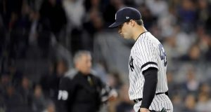 NEW YORK, NEW YORK - OCTOBER 04: Tommy Kahnle #48 of the New York Yankees walks off the mound after being relieved against the Minnesota Twins during the sixth inning in game one of the American League Division Series at Yankee Stadium on October 04, 2019 in New York City.